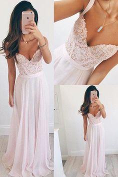 Beautiful V-neck Long Chiffon Baby Pink Long Prom