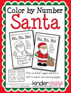 FREE! Color by Number Santa