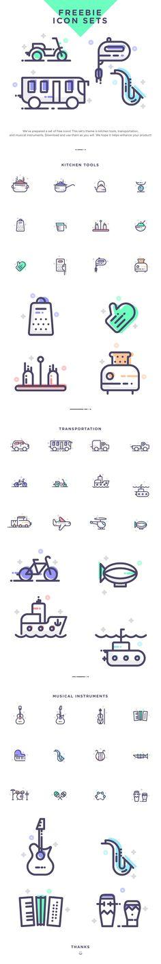 Freebie Icon Sets (Kitchen, Music, Transportation)