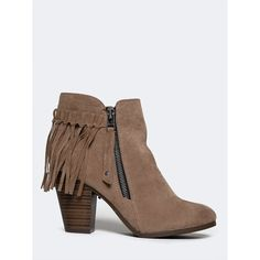 GAIL-26 BOOTIE ($35) ❤ liked on Polyvore featuring shoes, boots, ankle booties, beige, vegan ankle boots, short fringe boots, breckelles boots, beige boots and fringe booties