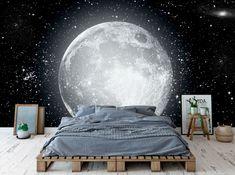 Zelfklevend fotobehang – Maan - bedroom furniture for teens Bedroom Murals, Bedroom Themes, Bedroom Furniture, Diy Room Decor, Bedroom Decor, Home Decor, White Bedroom, Bedroom Designs For Couples, Deco Kids