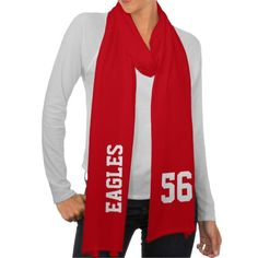 Red and White School Spirit Personalized Football Team Scarf Wrap - Customize with your school mascot and number!
