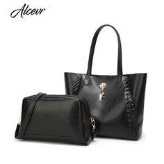 ALCEVR Fashion Vintage Women Handbag PU Leather Women Crossbody Bag Solid Female  Designer Shoulder Tote Bag 9b41039ee7d96
