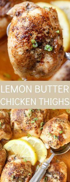 Recipe for baked lemon butter chicken thighs.