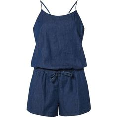 Dorothy Perkins **Vero Moda Chambray Denim Playsuit (1,785 DOP) ❤ liked on Polyvore featuring jumpsuits, rompers, blue, dorothy perkins, chambray romper, denim rompers, denim romper and spaghetti strap romper