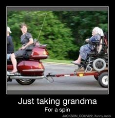 Grandma is either having the time of her life, or is scared out of her mind.