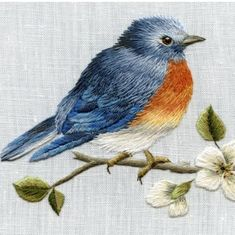 Marvelous Crewel Embroidery Long Short Soft Shading In Colors Ideas. Enchanting Crewel Embroidery Long Short Soft Shading In Colors Ideas. Embroidered Bird, Simple Embroidery, Crewel Embroidery, Hand Embroidery Patterns, Ribbon Embroidery, Cross Stitch Embroidery, Machine Embroidery, Embroidery Designs, Beginner Embroidery