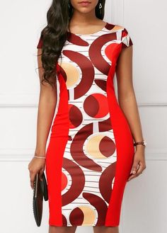 Cap Sleeve Round Neck Printed Bodycon Dress Women Clothes For Cheap, Collections, Styles Perfectly Fit You, Never Miss It! Latest African Fashion Dresses, African Dresses For Women, African Print Dresses, African Print Fashion, African Attire, Women's Fashion Dresses, Africa Fashion, Trendy Dresses, Sexy Dresses