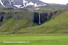 Another look at the falls dwarfing a pole and some livestock, Grundarfoss, Grundarfjörður / Snæfellsnes Peninsula, West Region, Iceland West Iceland, Iceland Waterfalls, Running Away, Places To Visit, Ocean, Island, Mountains, Livestock, World
