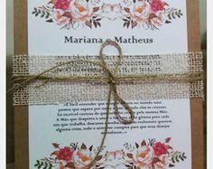 Convite de casamento Rústico Floral