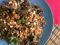 A Massaged Kale and Wheatberry Salad with feta cheese @catbtan #fitfluential