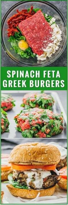 These healthy Greek burgers are made using ground beef mixed with spinach, feta, and sun-dried tomatoes, plus drizzled with a delicious tzatziki sauce. easy, recipe, turkey, garlic, lamb, chicken, 21 day fix, sides, sauce, seasoning, toppings, mediterranean, dinner, lunch, grilling, summer
