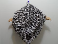 Crochet infinity scarf // White and Brown by ElyshasCreations