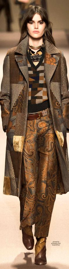 Love the mix of patterns. Etro FW2015. #style solutions #fashion