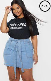 The Plus Light Wash Belt Detail Fray Hem Denim Skirt . Head online and shop this season's range of plus size at PrettyLittleThing. Curvy Girl Fashion, Black Women Fashion, Look Fashion, Plus Size Fashion, Fashion Models, Fashion Outfits, Womens Fashion, Look Plus Size, Plus Size Jeans