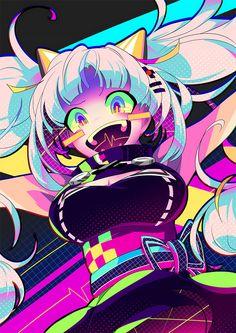 Japanese Illustrator BerryVerrine Dazzles With Awesome Retrowave Kawaii Art - Anime art - Art Kawaii Anime Girl, Anime Art Girl, Manga Art, Manga Anime, Anime Girls, Arte Do Kawaii, Kawaii Art, Art Anime Fille, Cute Art Styles