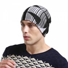 Black and white geometric beanie hat for men winter outdoor warm knit hats Mens Knit Beanie, Knit Hats, Beanie Hats, Winter Hats For Men, Hat For Man, Outdoor Wear, Mens Caps, Designers, Warm