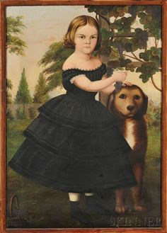 Susan Catherine Moore Waters (American, 1823-1900)     Portrait of a Girl and Her Dog in a Grape Arbor. Unsigned