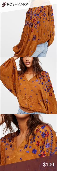 """🎵Free People """"Music in Time"""" embroidered top🎵 Free People """"Music in Time"""" embroidered top in ruby--size medium Free People Tops"""