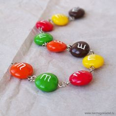 M Candy Charm Bracelet  unique gift for her by Nechegonadet, $34.00