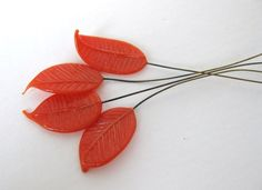 Vintage Glass Bead Leaf on Wire Coral Deep Orange Leaves vgb0321 (6) Bumbershoot supplies at Etsy  $4.00