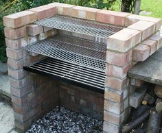 Outdoor Kitchen Bbq Kits Beautiful Charcoal Diy Brick Bbq Kit with Stainless Grill & Warming Brick Grill, Brick Built Bbq, Diy Grill, Bbq Diy, Barbecue Ideas Backyard, Diy Bbq Area, Bbq Ideas, Fire Pit Grill, Fire Pits