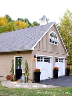 Updating a garage entry - new paver and pea gravel walkway and fall decorating ideas.