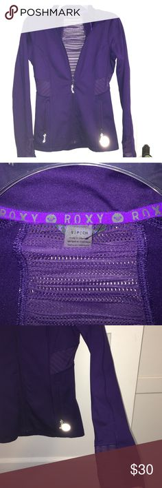 Roxy Purple Workout Jacket This form fitting jacket has mesh opening on the back, sides and sleeves. Worn only a few times. Roxy Jackets & Coats