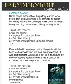 Deleted Scene Lady Midnight (#1 TDA) - Julian and his lists of things he couldn´t do (Tell Emma...)