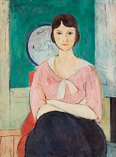 Einar Jolin 1890-1976 Model in a pink blouse. 1919