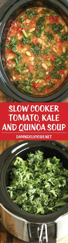 Slow Cooker Tomato, Kale and Quinoa Soup - simple, comforting soup to prepare in your crockpot.