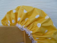 Shower Cap Yellow Polka Dots White Spa Heaven by GiftCreation, $18.50