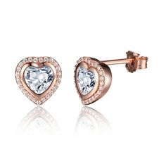 40cf829b1 Rose Gold Color Crystal Heart Stud Earrings 925 Sterling Silver Earring For Women  Fashion Jewelry Female PAS473-in Stud Earrings from Jewelry & Accessories  ...