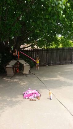 Sometimes the best vacations are in your own back yard... Here's my granddaughter, Kinsey; and my friend, Dana, using the pool noodles to get the birds out of the tree. Kinsey also used her imagination and used the noodles to go fishing and make rain in the pool.