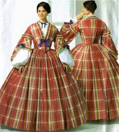"""Time Traveling in Costume: 1850s turquoise plaid dress- My """"Young Victoria"""" gown  http://timetravelingincostume.blogspot.com.au/2010/12/1840s-teal-plaid-dress-my-young.html"""