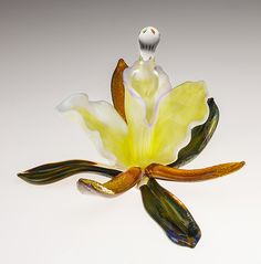 Orchid Perfume Bottle by Loy Allen: Art Glass Perfume Bottle available at www.artfulhome.com