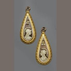Two Victorian Carved Shell Cameo Pendant Drops of Similar Design