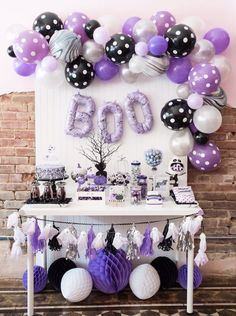 Boo Black, Purple and White Dessert Table