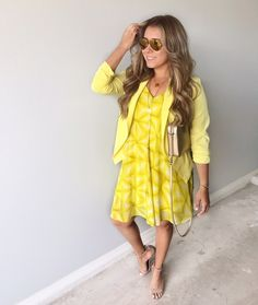 yellow dress with Blazer #ShopStyle #MyShopStyle #yellowdress #summeroutfit