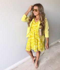 yellow dress with Blazer #ShopStyle #MyShopStyle #yellowdress #summeroutfit