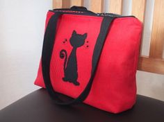 Handbag - red with black cat £24.95