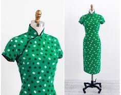 vintage 1940s dress / 1940s cheongsam / Green Umbrella Novelty Print Dress. $146.00, via Etsy.