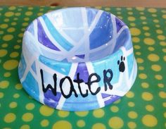 Pet Bowl Painted By Customer Using Masking Tape #pottery #colormemine #boulder