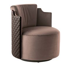 This plush armchair will be an exclusive addition to a spacious walk-in closet in the bedroom or a living room decor. This design by Marzia and Leo Dainelli. Royal Furniture, Unique Furniture, Furniture Design, Dressing Chair, Metal Sofa, Leather Swivel Chair, Modern Sofa Designs, Types Of Sofas, Single Sofa