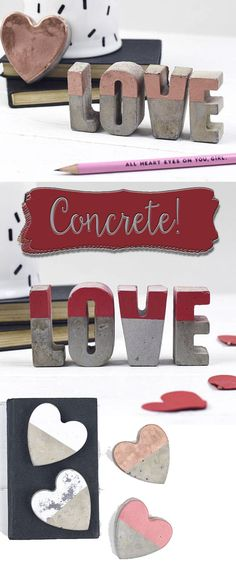 Concrete and paint make some sweet little gifts for valentines! Love these simple gifts. #valentines #love #gifts #affilinatelink