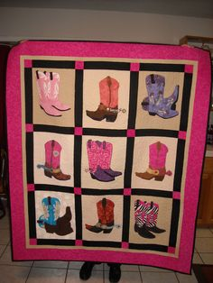 Boot Quilt #1 for The 40 Something Cowgirls Charity Fundraiser.  A couple of the booth blocks I made, but then I did all the Quilting and Binding on this quilt.