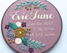Embroidery Beginners Birth Announcement Newborn Gift Baby Girl Gift Floral Nursery Theme Custom Embroidery Garden Themed Nursery Baby Shower Hoffelt and Hooper - Etsy Embroidery, Embroidery Hoop Crafts, Embroidery Hearts, Embroidery Patterns Free, Embroidery For Beginners, Embroidery Hoop Art, Hand Embroidery Designs, Custom Embroidery, Baby Girl Embroidery Ideas