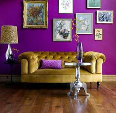 See more ideas about Purple living room paint, Purple living room sofas and Dark purple rooms. Home Interior, Interior Design, Purple Rooms, Purple Walls, Purple Gold, Bright Purple, Purple Yellow, Bright Walls, Bedroom Ideas
