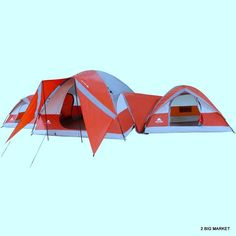 3-Dome 10-person Tent Red Orange Camping Outdoor Family Doors Windows Pockets  #OzarkTrail #Dome