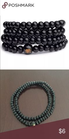 Black Mala Buddha Bracelet Brand New   All orders ship out same day  These Buddha bracelets are a great way to spice up your look and feel.   Perfect for men or women.  Color: Black Size: One size fits most Bead Size: 6mm Amount of Beads: 108  If you have any questions or want to bundle, please message me.   Thanks   #buddha #bracelet #buddhabracelet #yoga #yogi #meditate #prayerbeads #prayer #beads #chakra Jewelry Bracelets